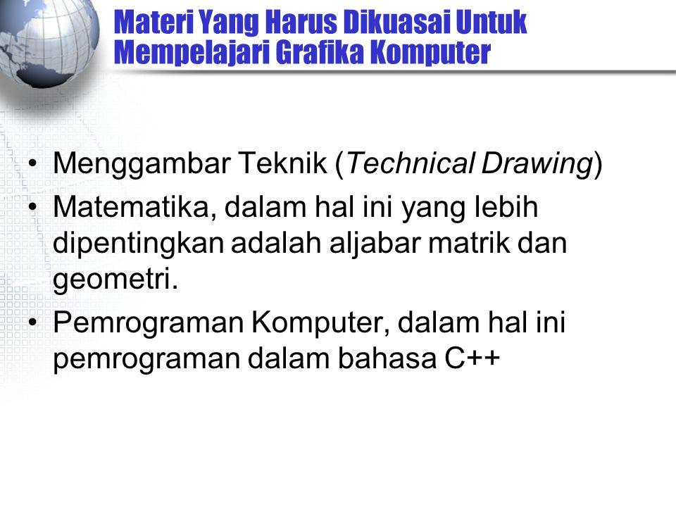 Materi Yang Harus Dikuasai Untuk Mempelajari Grafika Komputer Menggambar Teknik (Technical Drawing) Matematika, dalam hal ini yang lebih dipentingkan adalah aljabar matrik dan geometri.