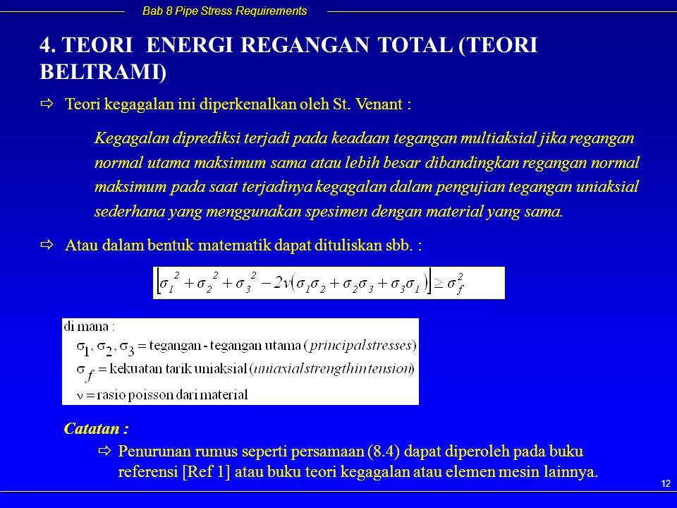 Bab 8 Pipe Stress Requirements 12   Teori kegagalan ini diperkenalkan oleh St. Venant : Kegagalan diprediksi terjadi pada keadaan tegangan multiaksi
