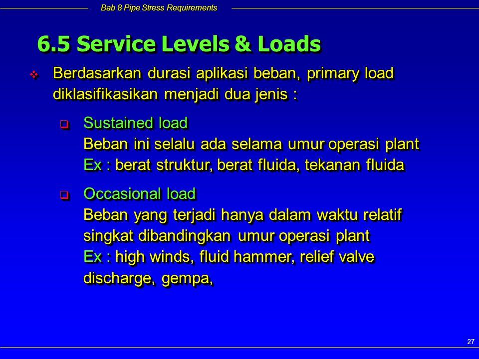 Bab 8 Pipe Stress Requirements 27  Berdasarkan durasi aplikasi beban, primary load diklasifikasikan menjadi dua jenis :  Sustained load Beban ini se