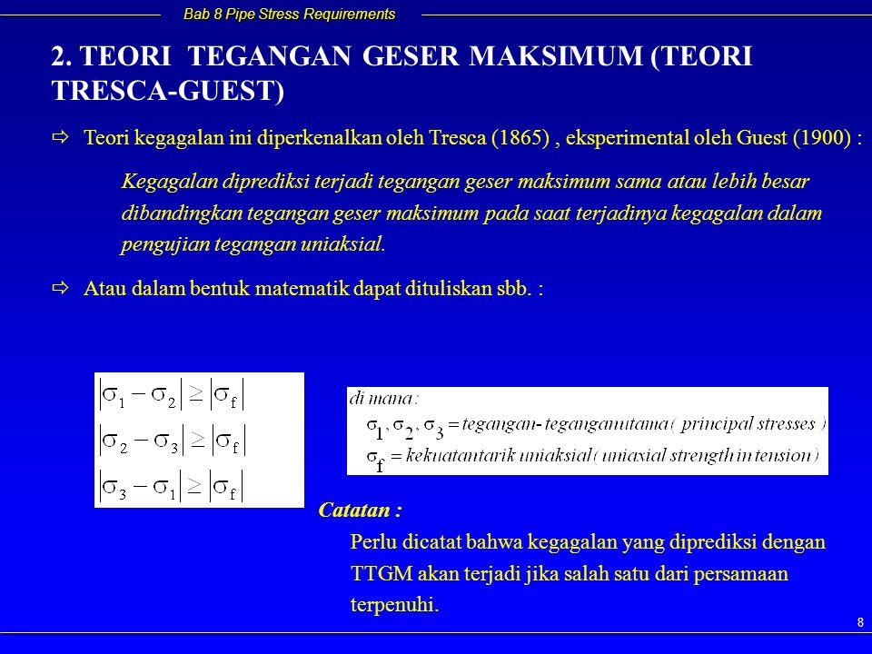 Bab 8 Pipe Stress Requirements 8   Teori kegagalan ini diperkenalkan oleh Tresca (1865), eksperimental oleh Guest (1900) : Kegagalan diprediksi terj
