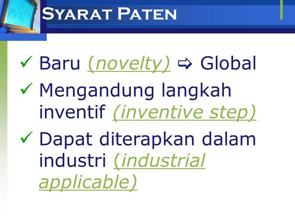 PATEN  Paten: hak eksklusif yang diberikan oleh Negara kepada Inventor atas hasil Invensinya di bidang teknologi, yang untuk selama waktu tertentu me