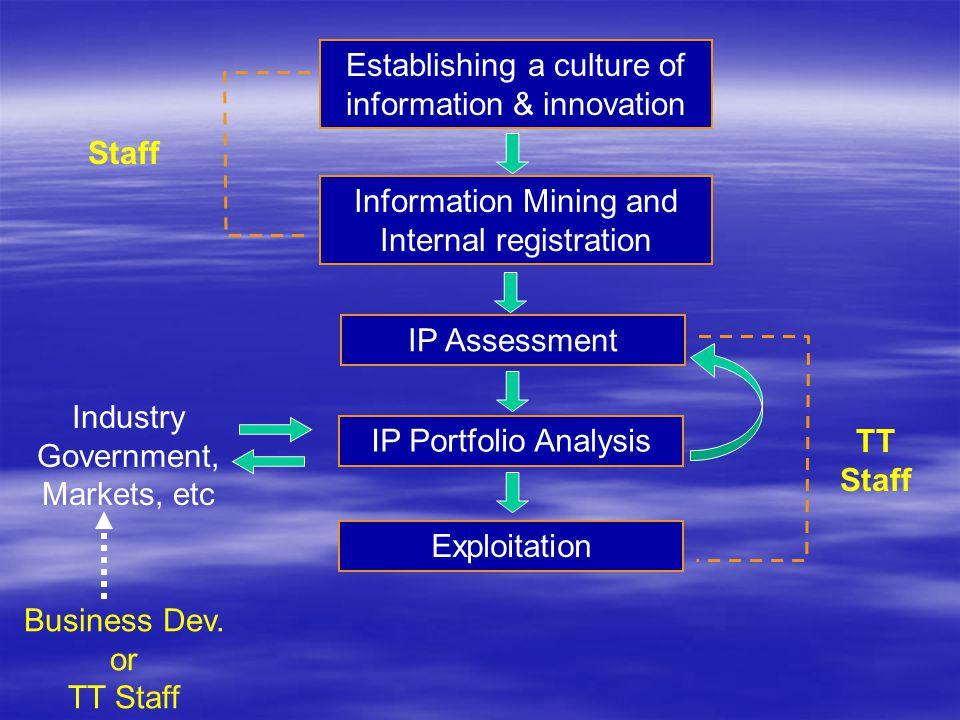Establishing a culture of information & innovation Information Mining and Internal registration IP Assessment IP Portfolio Analysis Exploitation Staff TT Staff Industry Government, Markets, etc Business Dev.
