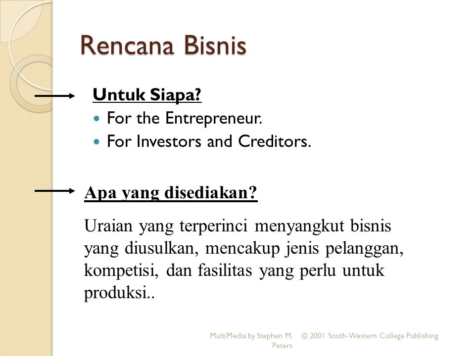 Rencana Bisnis Untuk Siapa.For the Entrepreneur. For Investors and Creditors.