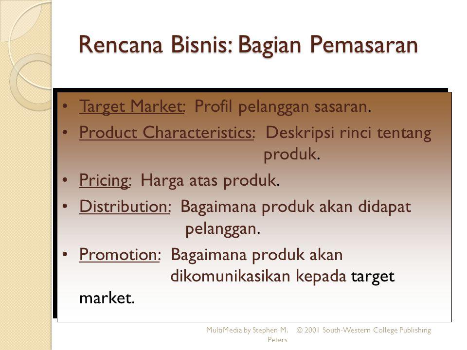 Rencana Bisnis: Bagian Pemasaran MultiMedia by Stephen M. Peters © 2001 South-Western College Publishing Target Market: Profil pelanggan sasaran. Prod