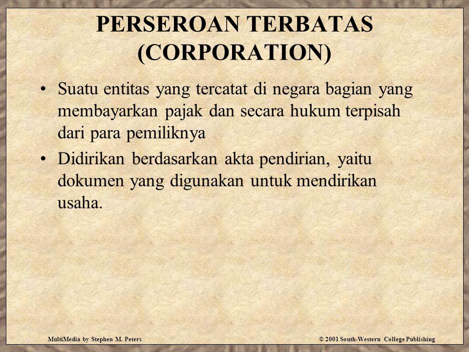 PERSEROAN TERBATAS (CORPORATION) Suatu entitas yang tercatat di negara bagian yang membayarkan pajak dan secara hukum terpisah dari para pemiliknya Didirikan berdasarkan akta pendirian, yaitu dokumen yang digunakan untuk mendirikan usaha.