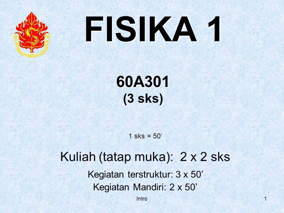 Intro1 60A301 (3 sks) 1 sks = 50' Kuliah (tatap muka): 2 x 2 sks Kegiatan terstruktur: 3 x 50' Kegiatan Mandiri: 2 x 50'. FISIKA 1