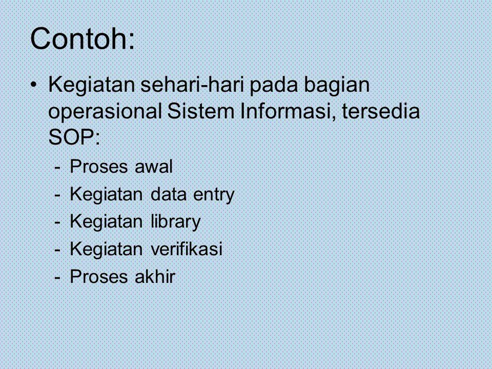 Contoh: Kegiatan sehari-hari pada bagian operasional Sistem Informasi, tersedia SOP: -Proses awal -Kegiatan data entry -Kegiatan library -Kegiatan ver