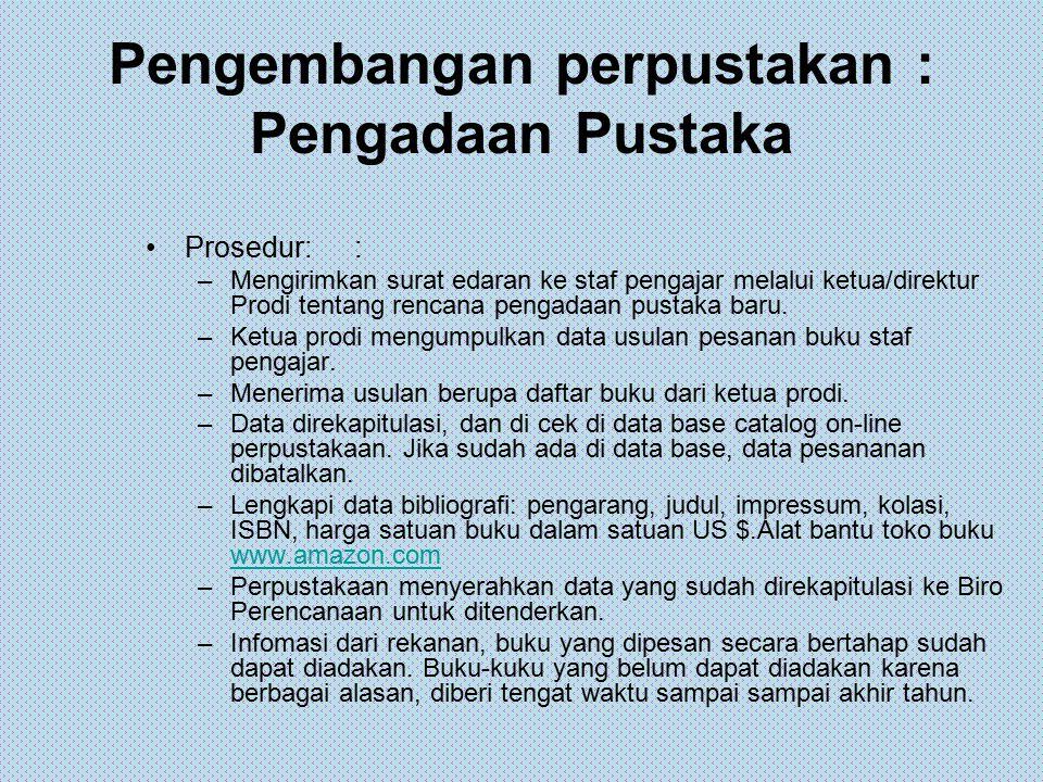 Pengembangan perpustakan : Pengadaan Pustaka Prosedur:: –Mengirimkan surat edaran ke staf pengajar melalui ketua/direktur Prodi tentang rencana pengad