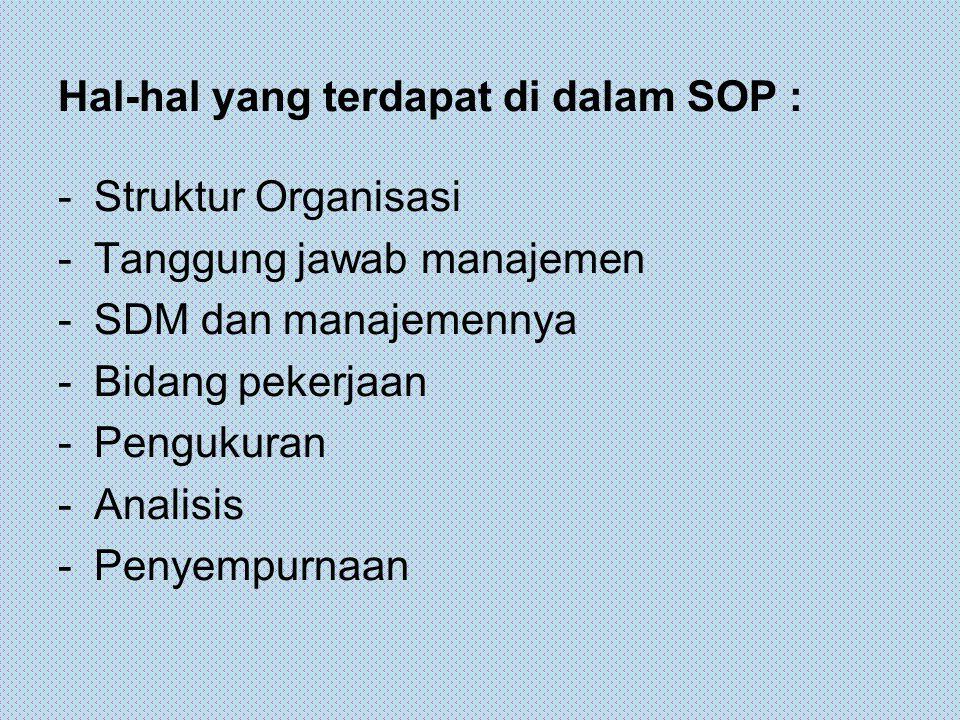 Materi SOP Secara umum materi SOP terdiri atas: 1.Kebijakan Umum yang terdiri dari : a.