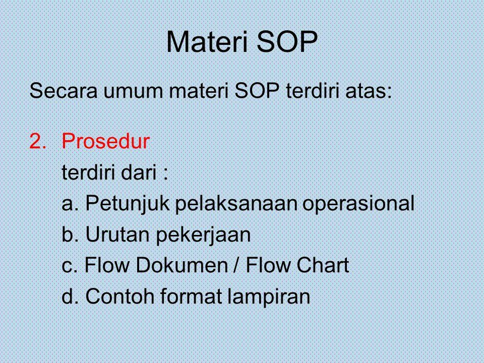 Materi SOP Secara umum materi SOP terdiri atas: 2.Prosedur terdiri dari : a. Petunjuk pelaksanaan operasional b. Urutan pekerjaan c. Flow Dokumen / Fl
