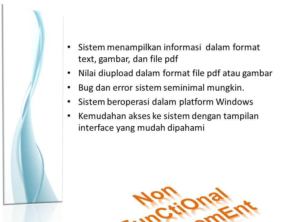 Sistem menampilkan informasi dalam format text, gambar, dan file pdf Nilai diupload dalam format file pdf atau gambar Bug dan error sistem seminimal mungkin.