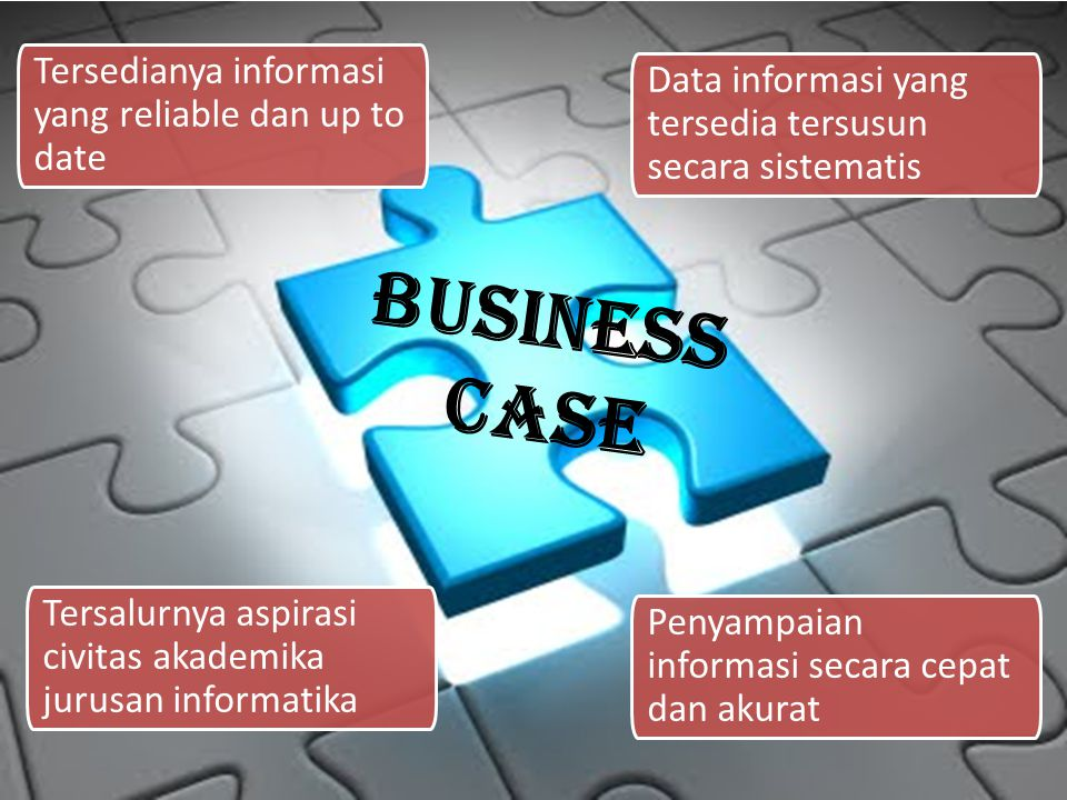 Business Case Tersedianya informasi yang reliable dan up to date Tersalurnya aspirasi civitas akademika jurusan informatika Data informasi yang tersedia tersusun secara sistematis Penyampaian informasi secara cepat dan akurat