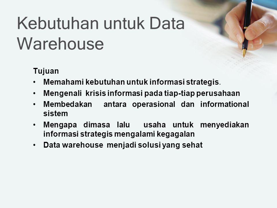 Kebutuhan untuk Data Warehouse Tujuan Memahami kebutuhan untuk informasi strategis. Mengenali krisis informasi pada tiap-tiap perusahaan Membedakan an