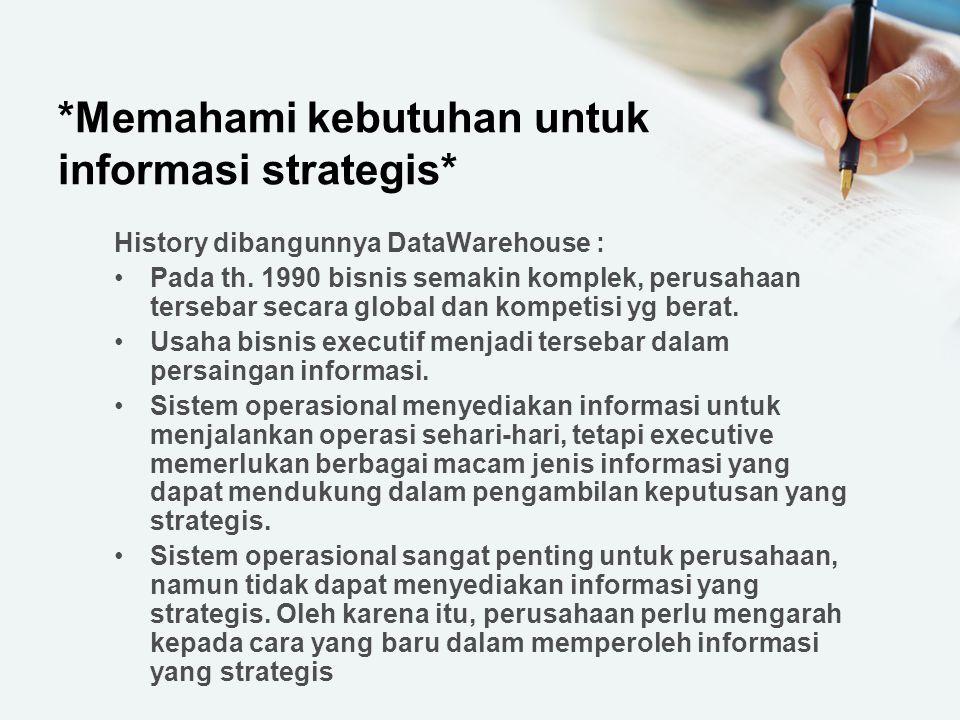 *Memahami kebutuhan untuk informasi strategis* History dibangunnya DataWarehouse : Pada th. 1990 bisnis semakin komplek, perusahaan tersebar secara gl