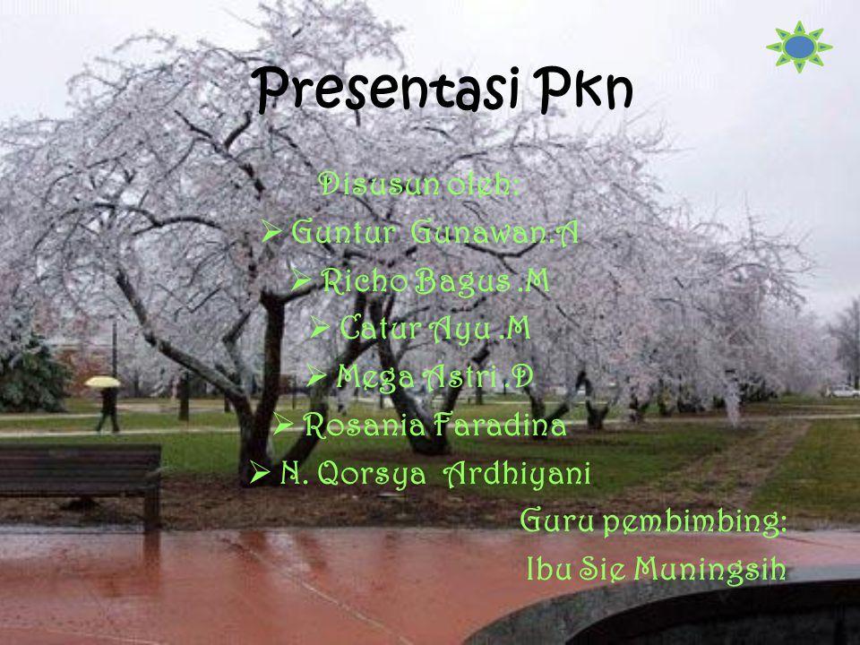 Presentasi Pkn Disusun oleh:  Guntur Gunawan.A  Richo Bagus.M  Catur Ayu.M  Mega Astri.D  Rosania Faradina  N.