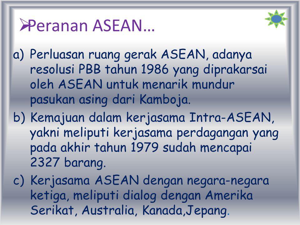 Apa sajakah tujuan dari ASEAN?? Untuk mempercepat pertumbuhan ekonomi, kemajuan sosial, serta pengembangan kebudayaan di kawasan Asia Tenggara. Meni