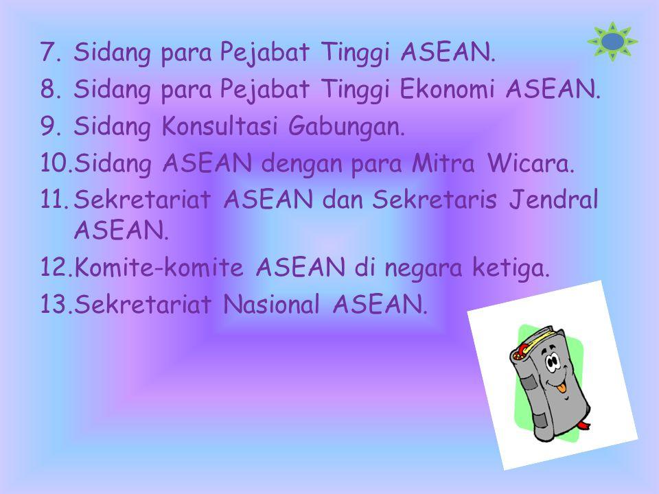  Struktur organisasi Asean… Susunan organisasi ASEAN, meliputi: 1.Sidang kepala kepala pemerintahan(Summit Meeting), merupakan kekuasaan tertinggi da