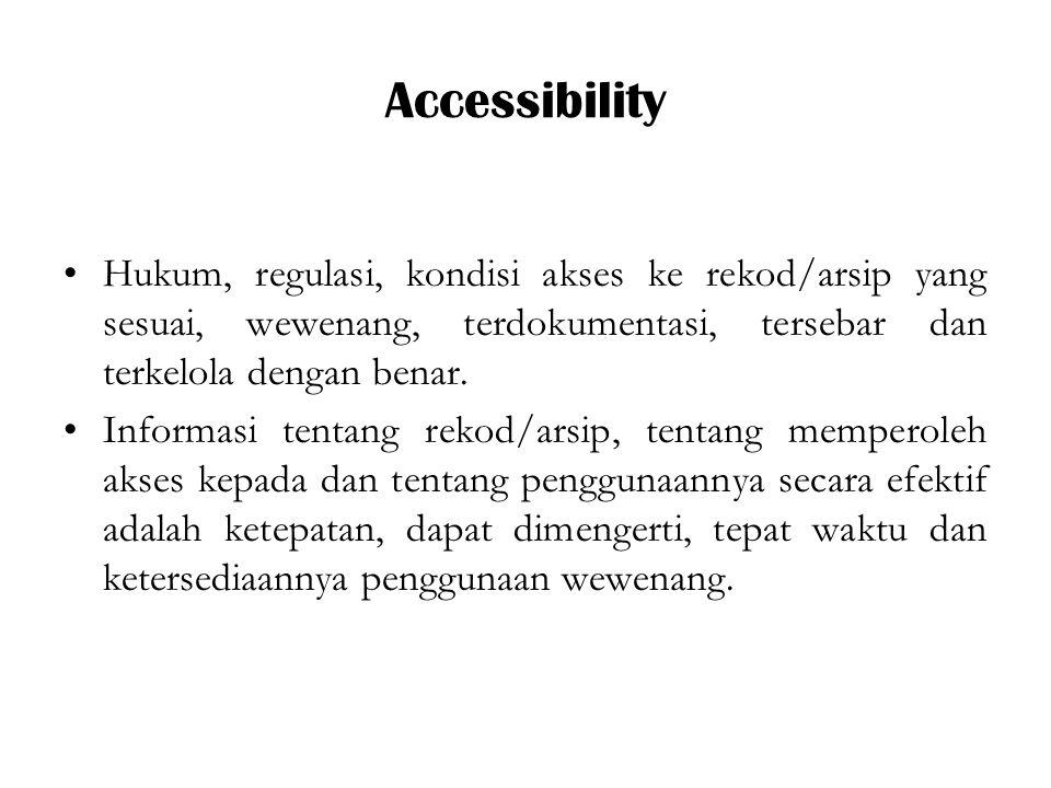 Accessibility Hukum, regulasi, kondisi akses ke rekod/arsip yang sesuai, wewenang, terdokumentasi, tersebar dan terkelola dengan benar.