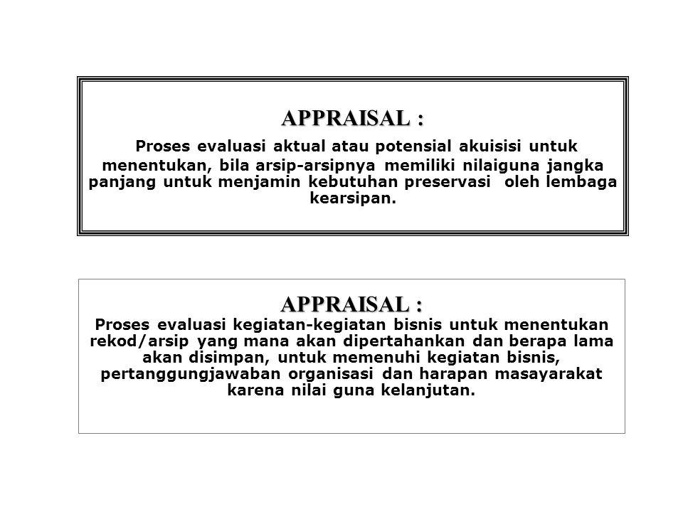 APPRAISAL : APPRAISAL : Proses evaluasi aktual atau potensial akuisisi untuk menentukan, bila arsip-arsipnya memiliki nilaiguna jangka panjang untuk menjamin kebutuhan preservasi oleh lembaga kearsipan.