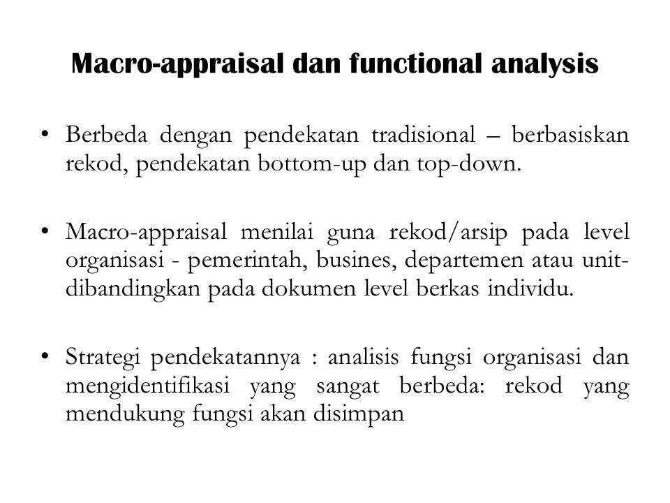 Macro-appraisal dan functional analysis Berbeda dengan pendekatan tradisional – berbasiskan rekod, pendekatan bottom-up dan top-down.