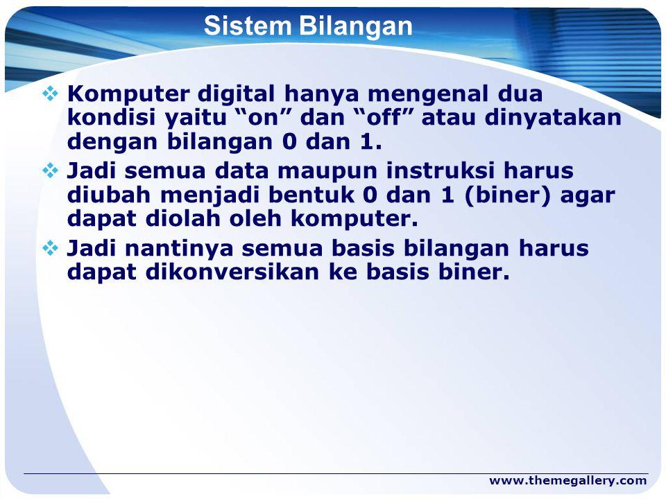 "www.themegallery.com Sistem Bilangan  Komputer digital hanya mengenal dua kondisi yaitu ""on"" dan ""off"" atau dinyatakan dengan bilangan 0 dan 1.  Jad"