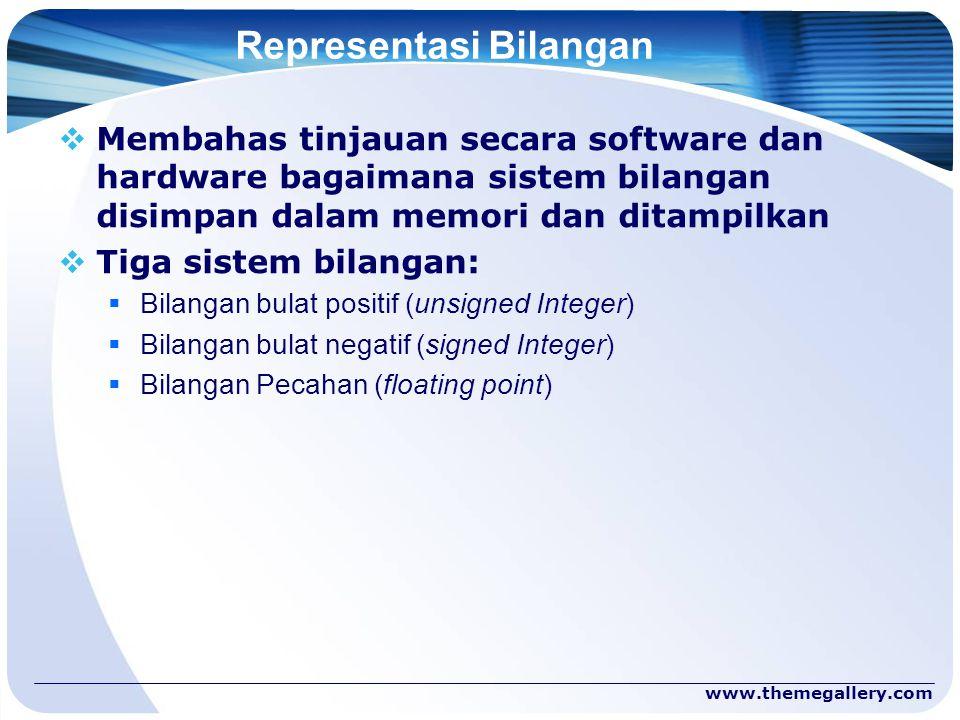 www.themegallery.com Representasi Bilangan  Membahas tinjauan secara software dan hardware bagaimana sistem bilangan disimpan dalam memori dan ditamp