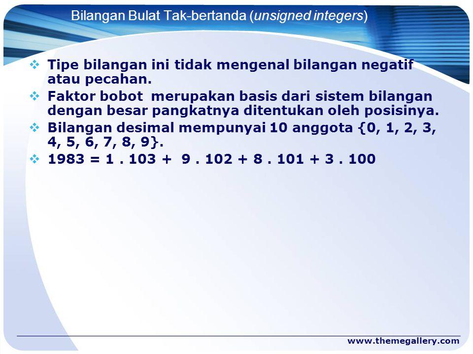 www.themegallery.com Bilangan Bulat Tak-bertanda (unsigned integers)  Tipe bilangan ini tidak mengenal bilangan negatif atau pecahan.  Faktor bobot