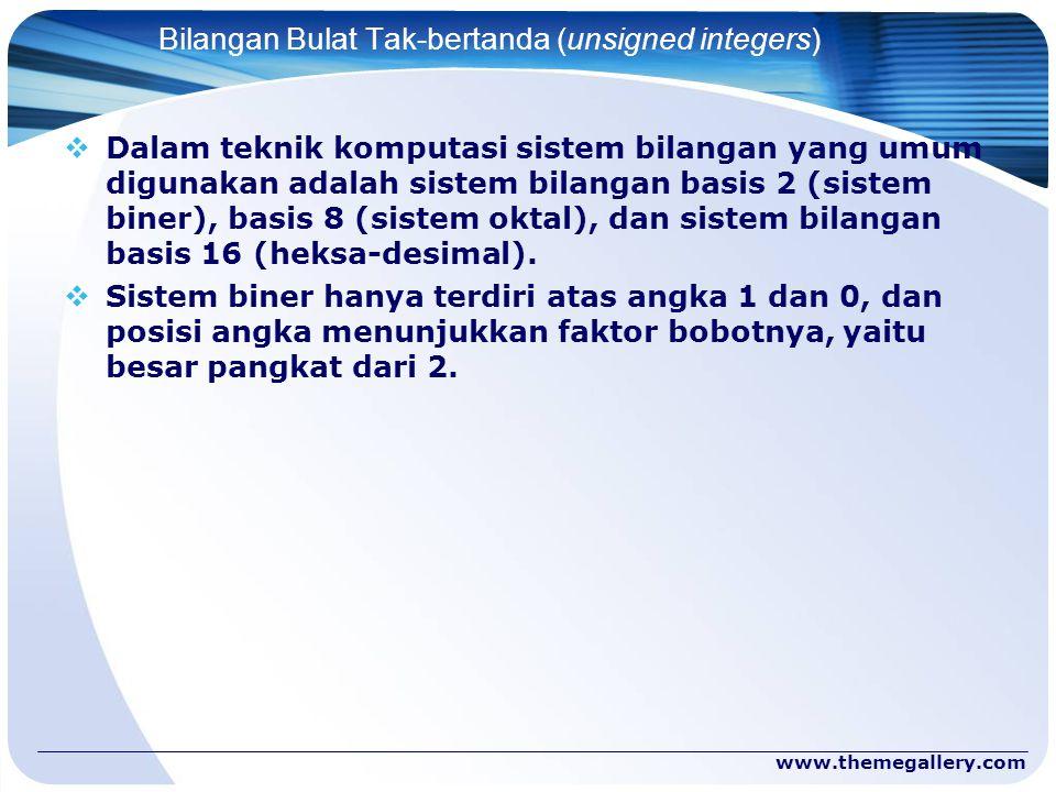 www.themegallery.com Bilangan Bulat Tak-bertanda (unsigned integers)  Dalam teknik komputasi sistem bilangan yang umum digunakan adalah sistem bilang