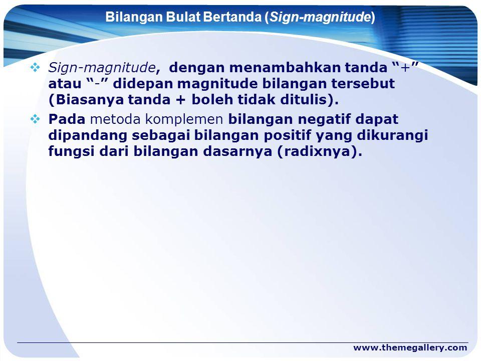 "www.themegallery.com Bilangan Bulat Bertanda (Sign-magnitude)  Sign-magnitude, dengan menambahkan tanda ""+"" atau ""-"" didepan magnitude bilangan terse"