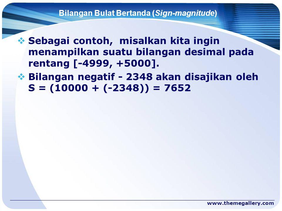 www.themegallery.com Bilangan Bulat Bertanda (Sign-magnitude)  Sebagai contoh, misalkan kita ingin menampilkan suatu bilangan desimal pada rentang [-