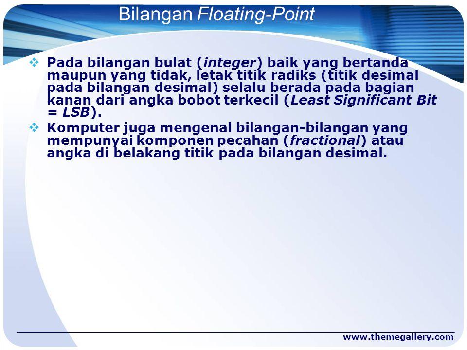www.themegallery.com Bilangan Floating-Point  Pada bilangan bulat (integer) baik yang bertanda maupun yang tidak, letak titik radiks (titik desimal p