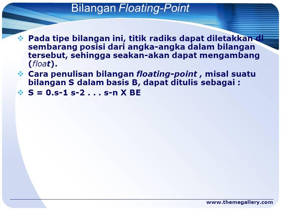 www.themegallery.com Bilangan Floating-Point  Pada tipe bilangan ini, titik radiks dapat diletakkan di sembarang posisi dari angka-angka dalam bilang