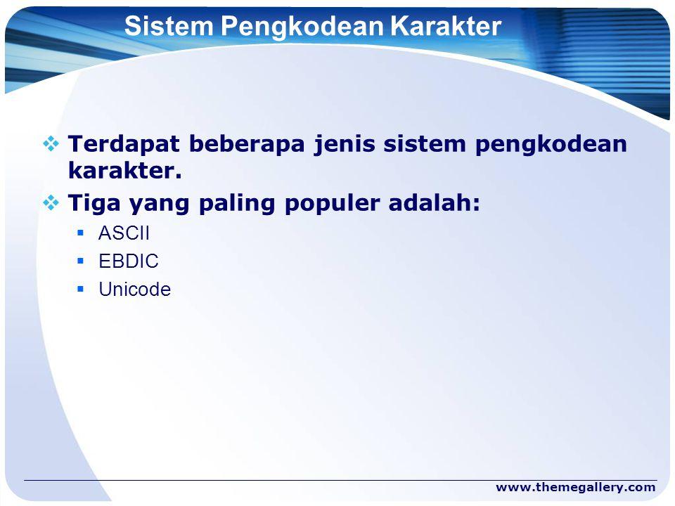 www.themegallery.com Sistem Pengkodean Karakter  Terdapat beberapa jenis sistem pengkodean karakter.  Tiga yang paling populer adalah:  ASCII  EBD