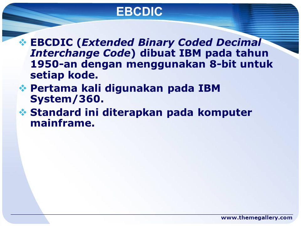 www.themegallery.com EBCDIC  EBCDIC (Extended Binary Coded Decimal Interchange Code) dibuat IBM pada tahun 1950-an dengan menggunakan 8-bit untuk set
