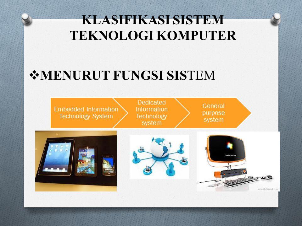 KLASIFIKASI SISTEM TEKNOLOGI KOMPUTER Embedded Information Technology System Dedicated Information Technology system General purpose system  MENURUT
