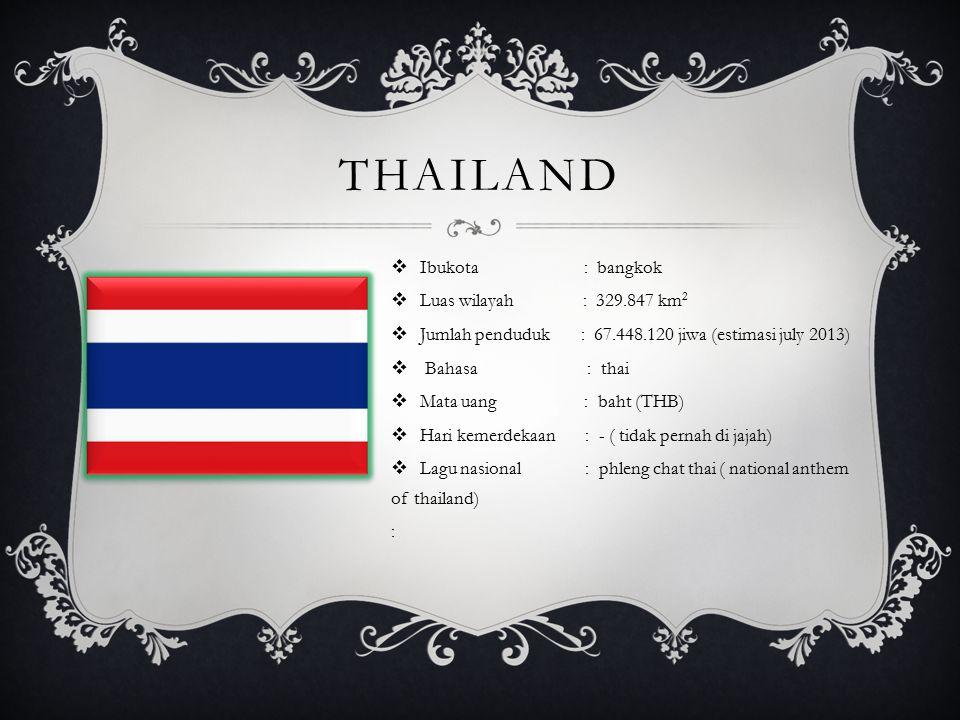 THAILAND  Ibukota : bangkok  Luas wilayah : 329.847 km 2  Jumlah penduduk : 67.448.120 jiwa (estimasi july 2013)  Bahasa : thai  Mata uang : baht (THB)  Hari kemerdekaan : - ( tidak pernah di jajah)  Lagu nasional : phleng chat thai ( national anthem of thailand) :