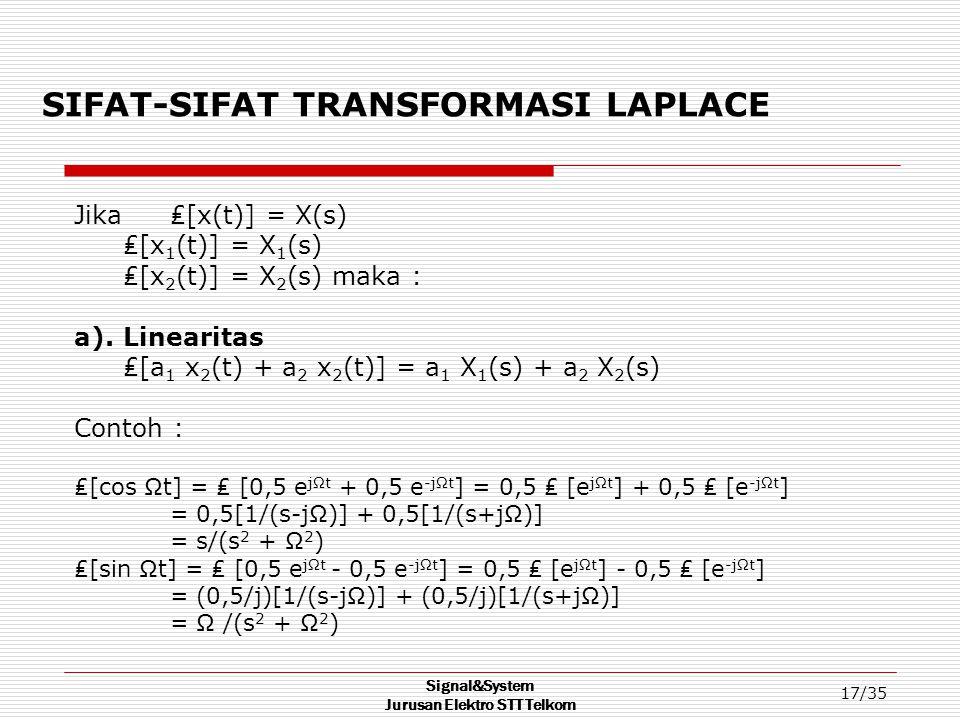 Signal&System Jurusan Elektro STT Telkom 17/35 SIFAT-SIFAT TRANSFORMASI LAPLACE Jika ₤[x(t)] = X(s) ₤[x 1 (t)] = X 1 (s) ₤[x 2 (t)] = X 2 (s) maka : a