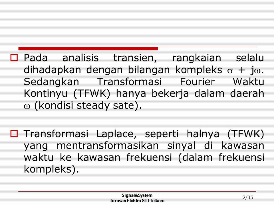 Signal&System Jurusan Elektro STT Telkom 3/35 Transformasi laplace Bilateral (TLB) TLB diturunkan dari TFWK : ~ X(Ω) = ∫ x(t) e -jΩt dt -~  ~ X(t) = (1/2π) ∫ X(Ω) e jΩt dΩ -~