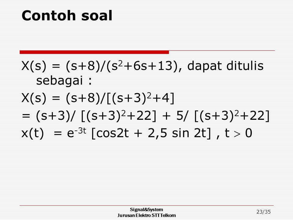 Signal&System Jurusan Elektro STT Telkom 23/35 Contoh soal X(s) = (s+8)/(s 2 +6s+13), dapat ditulis sebagai : X(s) = (s+8)/[(s+3) 2 +4] = (s+3)/ [(s+3