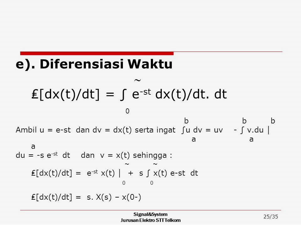 Signal&System Jurusan Elektro STT Telkom 25/35 e). Diferensiasi Waktu  ₤[dx(t)/dt] = ∫ e -st dx(t)/dt. dt 0 b b b Ambil u = e-st dan dv = dx(t) serta