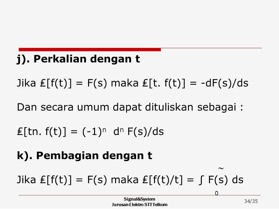 Signal&System Jurusan Elektro STT Telkom 34/35 j). Perkalian dengan t Jika ₤[f(t)] = F(s) maka ₤[t. f(t)] = -dF(s)/ds Dan secara umum dapat dituliskan