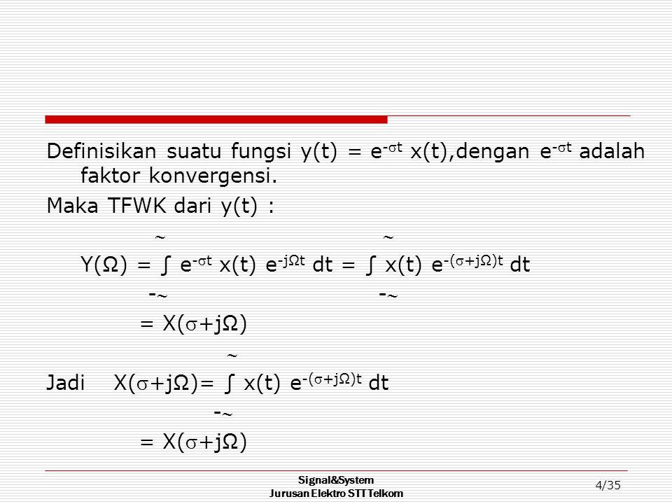 Signal&System Jurusan Elektro STT Telkom 5/35  x(t) = (1/2Π) ∫ X(+jΩ) e -(+jΩ)t dΩ - Definisikan variabel frekuensi kompleks : s = +jΩ sehingga ds = jdΩ dan dΩ = ds/j.