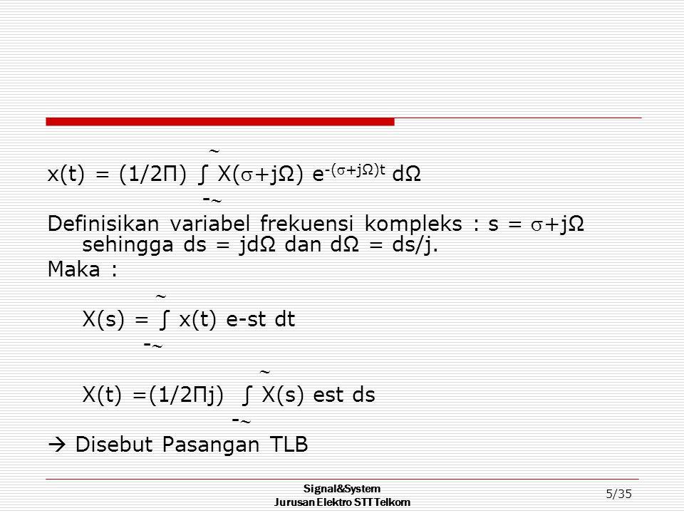 Signal&System Jurusan Elektro STT Telkom 26/35 Contoh soal Carilah Transformasi Laplace dari : 8 dx(t)/dt + 3 x(t) = 2t u(t) dengan x(0) = -1 ₤[8 dx(t)/dt + 3 x(t)] = ₤[2t u(t)] ₤[8 dx(t)/dt] + 3₤[ x(t)] = ₤[2t u(t)] 8 [s X(s) – x(0)] + 3 X(s) = 2 (1/s 2 ) 8 s X(s) + 8 + 3 X(s) = 2/s 2 (8s + 3) X(s) = (2/s 2 ) – 8 X(s) = 2/[s 2 (8s+3)] – 8/(8s+3)