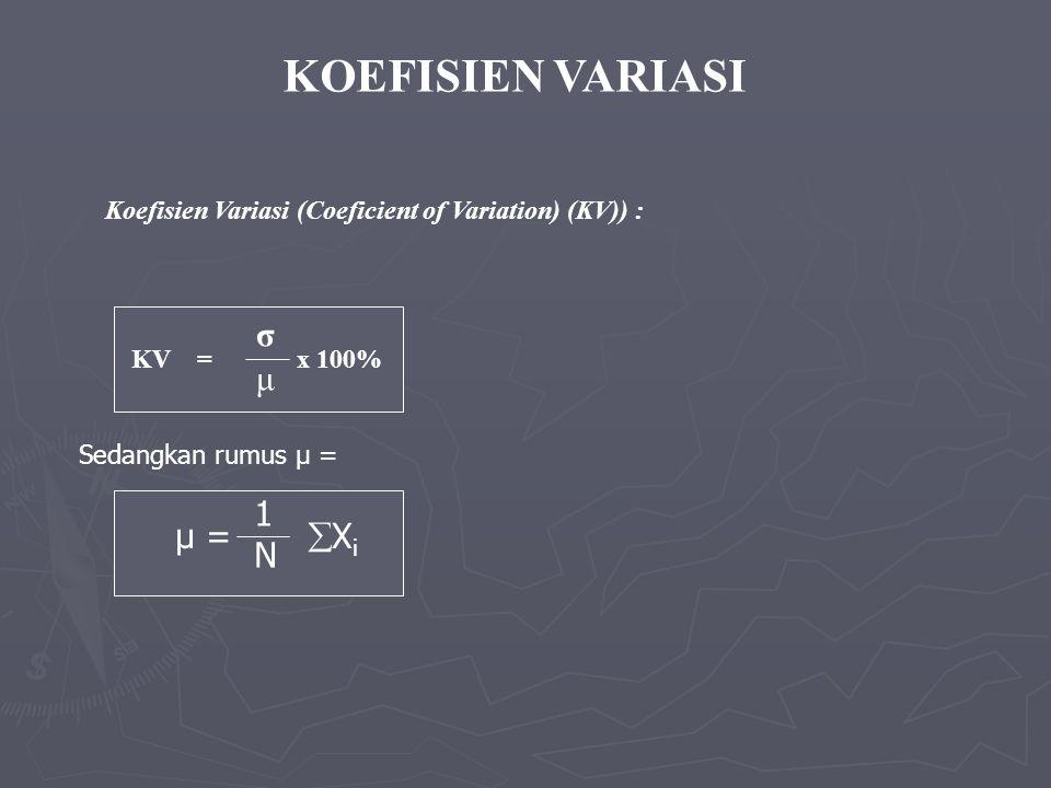KOEFISIEN VARIASI Koefisien Variasi (Coeficient of Variation) (KV)) : KV = x 100% σ μ Sedangkan rumus μ = μ =  X i 1N1N