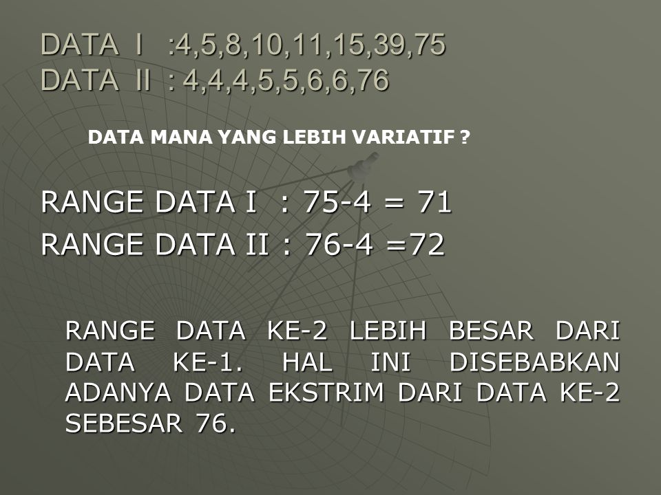 DATA I :4,5,8,10,11,15,39,75 DATA II : 4,4,4,5,5,6,6,76 RANGE DATA I : 75-4 = 71 RANGE DATA II : 76-4 =72 RANGE DATA KE-2 LEBIH BESAR DARI DATA KE-1.