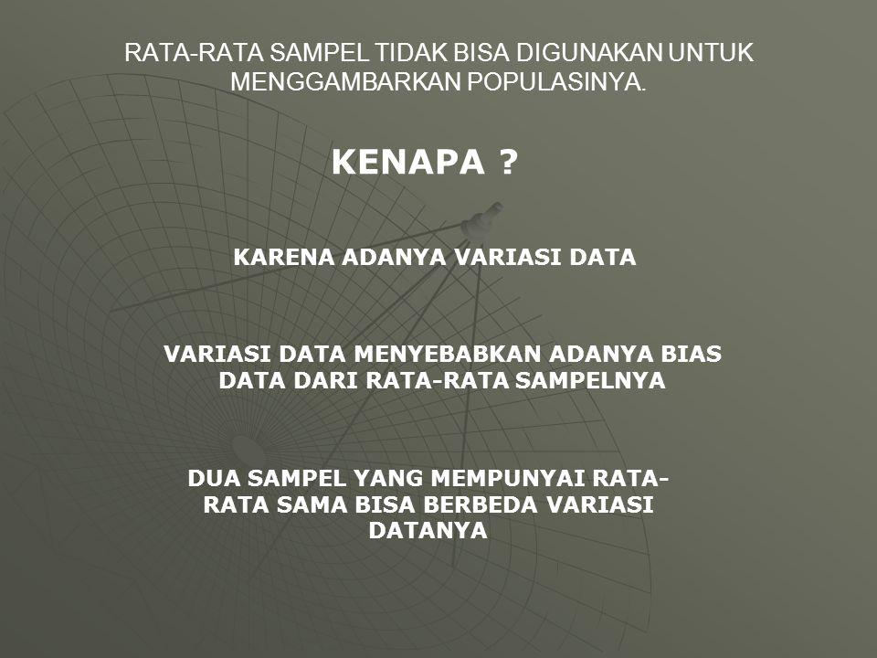RATA-RATA SAMPEL TIDAK BISA DIGUNAKAN UNTUK MENGGAMBARKAN POPULASINYA. KENAPA ? KARENA ADANYA VARIASI DATA VARIASI DATA MENYEBABKAN ADANYA BIAS DATA D