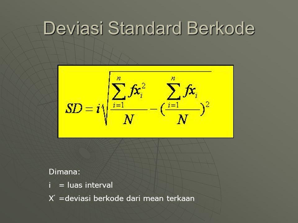 Deviasi Standard Berkode Dimana: i = luas interval X ' =deviasi berkode dari mean terkaan