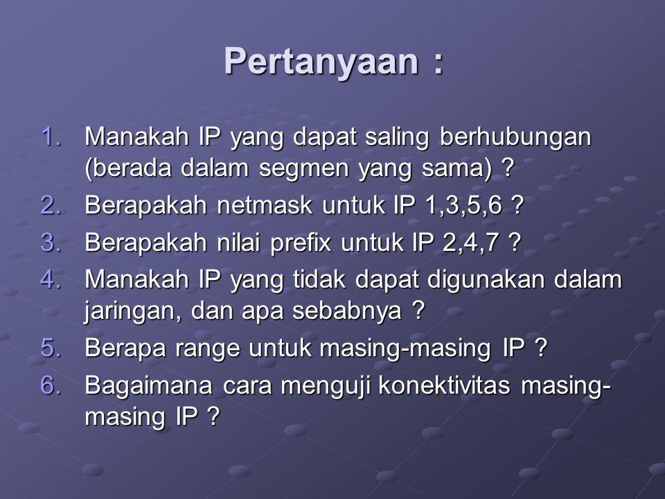 Pertanyaan : 1.Manakah IP yang dapat saling berhubungan (berada dalam segmen yang sama) ? 2.Berapakah netmask untuk IP 1,3,5,6 ? 3.Berapakah nilai pre