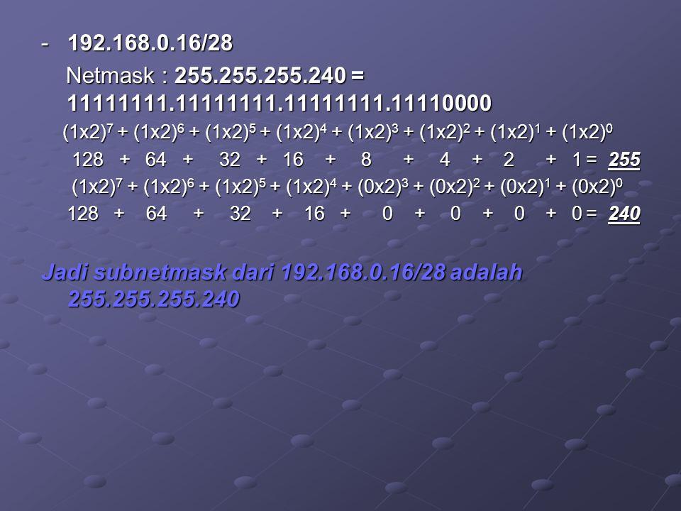 - 192.168.0.16/28 Netmask : 255.255.255.240 = 11111111.11111111.11111111.11110000 Netmask : 255.255.255.240 = 11111111.11111111.11111111.11110000 (1x2