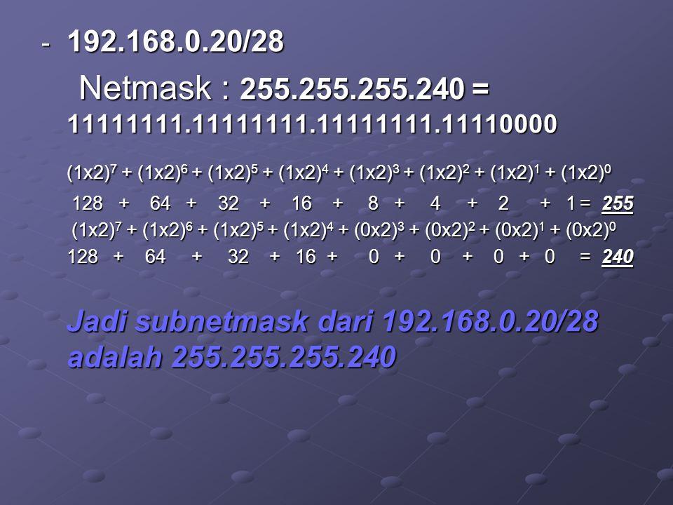 - 192.168.0.20/28 Netmask : 255.255.255.240 = 11111111.11111111.11111111.11110000 Netmask : 255.255.255.240 = 11111111.11111111.11111111.11110000 (1x2